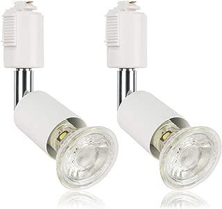 ダクトレール用スポットライト E11 LED電球付き 50W ライティングバー用器具セット ライティングレール 天井照明 2個セット (電球色, ホワイト器具)