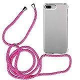 MyGadget Funda Transparente con Cordón para Apple iPhone 7 Plus / 8 Plus - Carcasa Cuerda y Esquinas Reforzadas en Silicona TPU - Case y Correa - Rosa