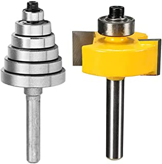 """Eyech Rabbet Router Bit Set with 6 Bearings for Multiple Depths(1/8"""", 1/4"""", 5/16"""", 3/8"""", 7/16"""", 1/2""""), 1/4-Inch Shank …"""