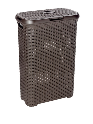 Curver 193009 - Cesta de ropa Natural Style, con tapa configurable, 40 L, color chocolate