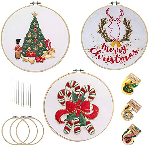 3 Sets Christmas Embroidery Cross Stitch Starter Kit DIY Sewing Cross Stitch Kits for Adult Embroidery Hoop Color Threads and Tools Kit for Embroidery Supplies Beginners
