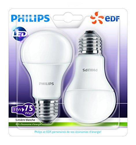 Philips Lighting Ampoule LED Standard Plastique/Aluminium 11 W E27 Blanc 11 x 6 x 6 Lot de 2