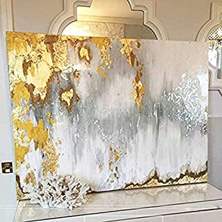 Faicai Art Abstract Metallic Wall Art Gold,Gray,White,'Buried Treasure', 3D Textured Handmade Oil Paintings On Canvas Modern Living Room Wall Decor Bedroom Wall Paintings 32