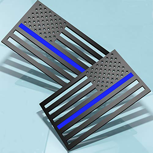 3D Thin Blue Line US Flag Emblem Decal Stickers Cut-Out  Compatible with Cars & Trucks,5' x 3' American USA Flag Decal Sticker Honoring Police Law Enforcement Vinyl Window Bumper Tape(1 Pair)