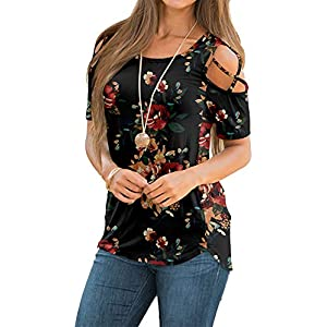 Women's Comfy Casual T-Shirts Short Sleeve/Long Sleeve Blouses Tunic Tops