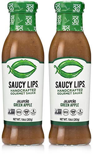 Saucy Lips Jalapeno Green Apple Sauce, Gourmet Sauces and Marinades, Vegan Dressing, Keto, Whole30 Approved, Sugar & Gluten Free, Non-GMO, Low Carb & Low Sodium Dressing, No Fat & Dairy, 10oz, 2-Pack