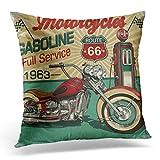 Topyee Funda de cojín retro vintage de la ruta de la gasolina 66 Classic Motocicletas Moto Biker 45 x 45 cm, decoración del hogar, funda de almohada cuadrada para sofá cama