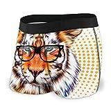 Calzoncillos tipo bóxer para hombre, diseño de tigre abstracto, colorido para niños, ropa interior de pierna corta, transpirable, para hombre, XXL