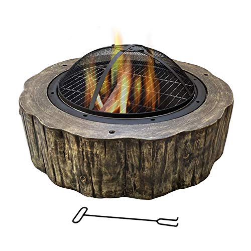 Fire Pit with BBQ Grill Shelf, 75 34cm Fire Bowl for Garden and Patio with Artistic Magnesium Oxide Base for Outdoor Garden Barbecue Camping