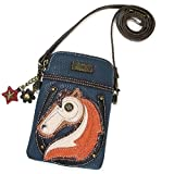 Chala Crossbody Cell Phone Purse - Women PU Leather Multicolor Handbag with Adjustable Strap - Horse - Navy
