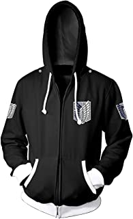 Men's Attack on Titan AOT Hoodie Survey Corps Recon Corps Wings Manga Anime Pullover Hoodie Sweatshirt with Front Pocke