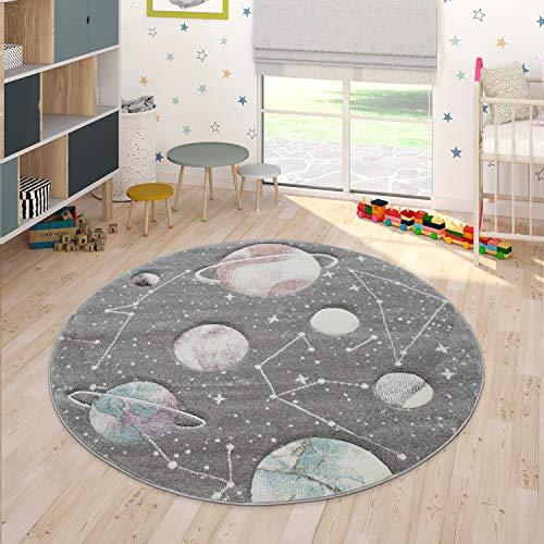 Paco Home Kinder-Teppich, Spiel-Teppich Für Kinderzimmer Mit Planeten Und Sternen, In Grau, Grösse:Ø 120 cm Rund