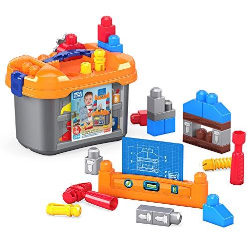 Mega Bloks GNT92 - Mega Bloks Kleine Werkbank, Bauset mit 36 Teilen, inkl. Werkbank-Box zum einfachen Aufbewahren, Spielzeug ab 2 Jahren