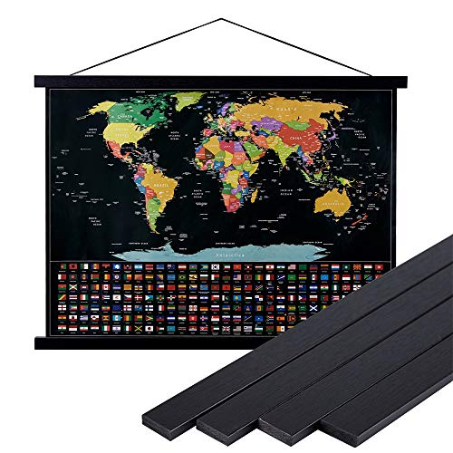 Lanpn 12x18 12x16 12x24 Black Poster Frame,12 inch Wide Magnetic Poster Hanger for Any Length Posters, Prints, Maps, Scrolls, and Artwork - Wall Hanging Wooden Frame