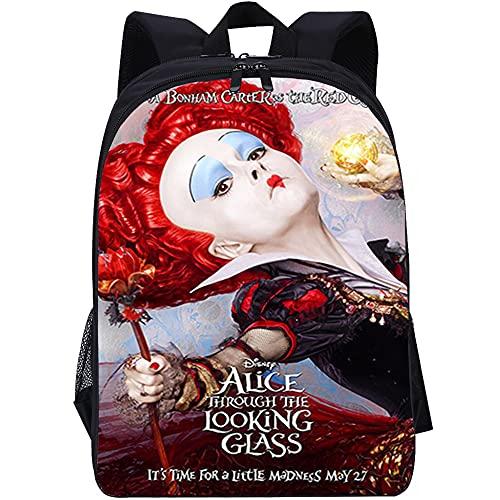 YITUOMO Schultasche,Mädchen Schultaschen für Mädchen Rucksack Alice im Wunderland Red Queen Rucksack für Mädchen Multi-Fach Secondary Casual Daypack Reiserucksack Student 16 Zoll
