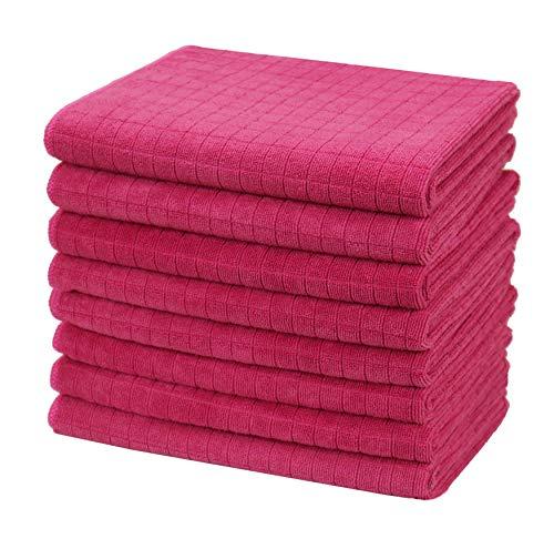 Gryeer 8er-Set Microfaser Geschirrtücher, weiche, super saugfähige und fussel freie Küchentücher, 45 x 65 cm, Pink
