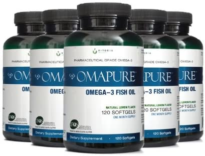 OMAPURE Pharmaceutical Grade Omega-3 Fish Oil (5 Bottles; 120 softgels) | Made with IFOS 5-Star Certified Fish Oil - Tested for Purity, Potency, Radiation, and Freshness