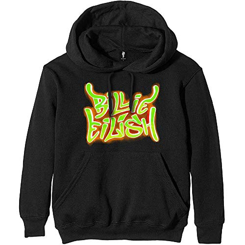 Billie Eilish 'Airbrush Flames' (Negro) Sudadera con Capucha (Large)