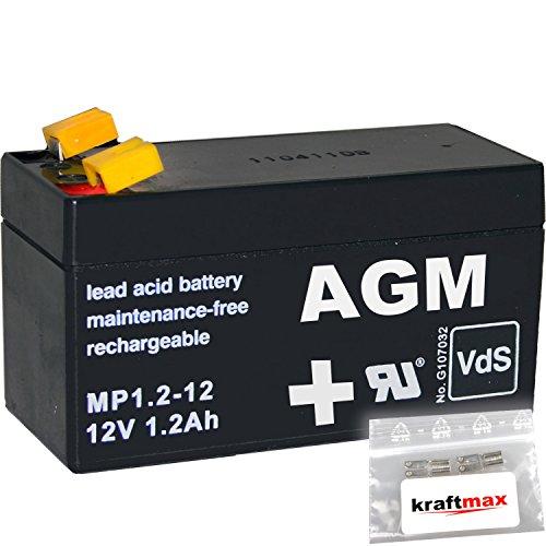 kraftmax 1x AGM 12V / 1,2Ah Blei-Akku - MP1,2-12 [ Faston 4,8 ] VDs geprüft - inkl. 2X Original Anschluß-Adapter