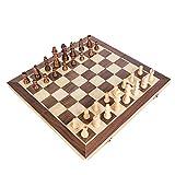 Juego de ajedrez magnético de Madera(15 x 15 Pulgadas),Tablero de ajedrez de Viaje Plegable,Transporte ETO,Duradero y Resistente a los arañazos,Juego de Mesa de Piezas Hechas a Mano para niñ