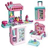 LADUO Juguete de Mesa de Maquillaje para niñas ,3en1 con Luces, Sonido, Espejo, Juguetes de simulación para niñas, Accesorios de Maquillaje para niñas de 3 a 6 años