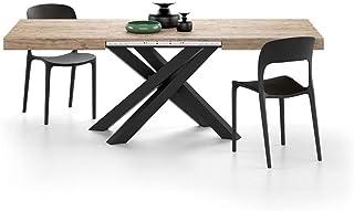 Mobili Fiver, Table Extensible Emma 140, Chêne Naturel, avec Pieds Noirs croisés, Mélaminé/Fer, Made in Italy