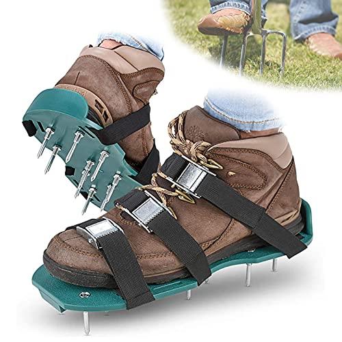 EFGS 1 Par de Zapatos de Aireador de Césped para Césped, Zapatos de Aireación de Suelo, Hebilla de Metal Antideslizante con Hebillas de Metal con Acondicio