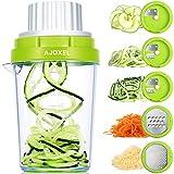 AJOXEL Spiralschneider Gemüse, 5 in 1 Gemüsehobel Reibe Edelstahl Spiralschneider Hand für Gemüsespaghetti, Käse, Zucchini, Kartoffel, Karotte, Gurke, Kürbis, Zwiebel