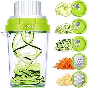 AJOXEL Cortador de Verdura, 5 en 1 Rallador de Verduras Espiralizador Mandolina de Cocina Profesional Espaguetis Calabacin Maquina Rallador de Queso Cortador Espiral Manual