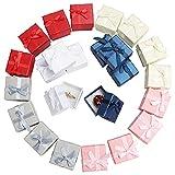 Kurtzy Cajas Bonitas para Regalo Anillos Joyas (Pack de 24) 4,1 x 4,1cm Cajas de Regalo Colores Variados Presentación Joyas con Lazo,...