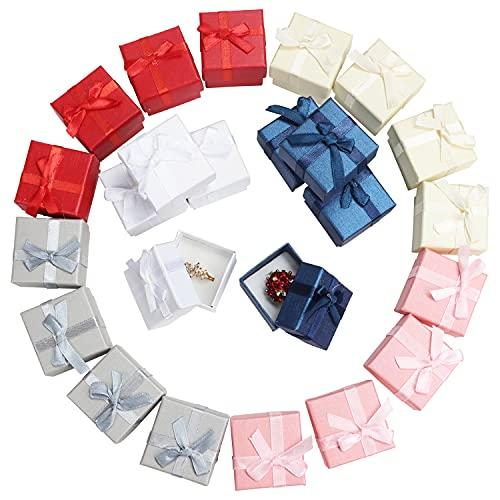 Kurtzy Geschenkbox mit Deckel für Schmuck, Ringe (24er Pack) - 5 x 5 cm - Verschiedene Farben Karton Geschenkbox mit Schleife & Samt - Schmuck Box für Jubiläen, Hochzeiten & Geburtstage