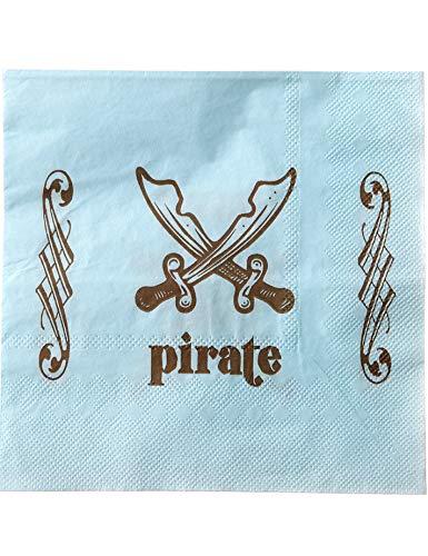 20 Serviettes en Papier Pirate Bleu Clair 33 x 33 cm