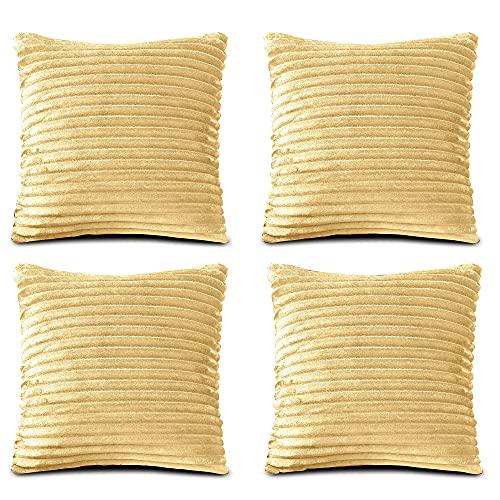FARFALLAROSSA Örngott av mikrofiber med dragkedja, gul (förpackning med 4) 45 x 45 cm, fyrkantiga örngott för soffkuddar, lämpliga för alla årstider, enfärgade