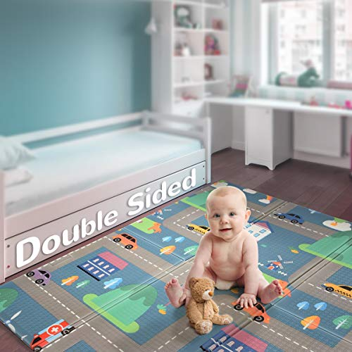 Baby Reversible Play Mat 787inchx 59inchx04inch DoubleSided Crawling Mat Foldable Waterproof NonToxic Portable BPA Free Floor Mat for Toddlers Infants Kids Road of City