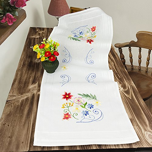 Kamaca Stickpackung BLUMENZAUBER Stielstich Plattstich Nadelmalerei vorgezeichnet aus Baumwolle zum Selbersticken (Tischläufer 40x100 cm)