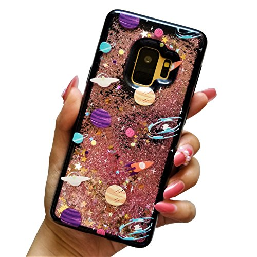 for Samsung Galaxy S9 Cute Black Floating Moon Stars Outer Space Liquid Waterfall Bling Glitter Soft Case