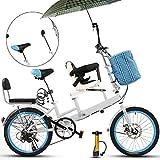 QULONG Bicicleta de 20 Pulgadas, Madre e Hijo, tándem Plegable, Freno de Disco, Valla, cinturón de Seguridad, Doble Recogida de la Madre, Bicicleta Infantil (Azul)