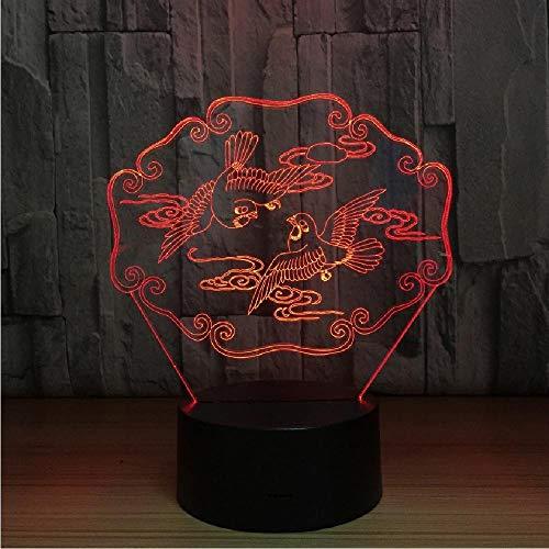 Mandarin Ducks 3D LED illusie nachtlampje dier usb tafellamp kleurrijke hologram lamp voor bruiloft party decoratie liefhebbers Gif, app mobiele telefoon Bluetooth afstandsbediening kleur oogbescherming energiebesparende tafellamp