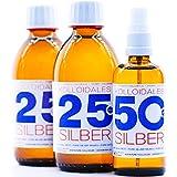 600ml Plata coloidal PureSilverH2O / 2 x Botellas (cada 250ml/25ppm) Plata coloidal + spray (100ml/50ppm) - 99,99% de plata pura - la mejor calidad - Made in Germany