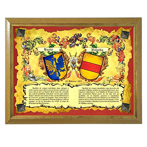 Heráldica de 2 Apellidos con los Escudos y los orígenes en Cuadro Tipo Castellano, con Tachuelas. Regalo de Boda, Aniversario.