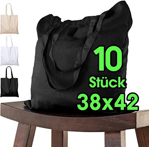 ELES VIDA Bolsa de algodón, 38 x 42 cm, 10 Unidades, sin Estampar, Bolsa de Tela, Bolsa, Bolsa de Yute con Certificado Oeko-Tex®, (Noir)