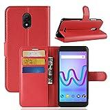 Venga amigos Hülle für Wiko Jerry 3,Bookstyle Premium PU-Leder klapptasche Case Brieftasche Etui Schutz Handyhülle für Wiko Jerry 3 Rote