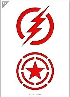 QBIX Superhero Stencil - The Flash Stencil - Captain America Stencil - A5 Size - Reusable Kids Friendly DIY Stencil for Painting, Crafts, Wall, Furniture