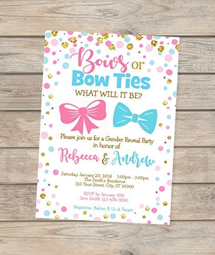 Bows Or Bow Ties Gender Reveal Blue Gold Invitation Pink Sale item Confe 4 years warranty