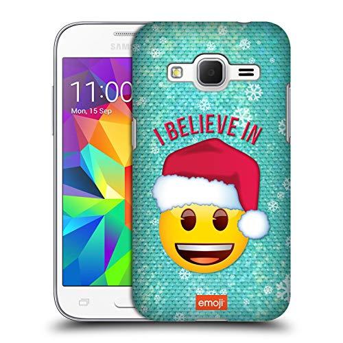 Head Case Designs Ufficiale Emoji Santa Natale Cover Dura per Parte Posteriore Compatibile con Samsung Galaxy Core Prime
