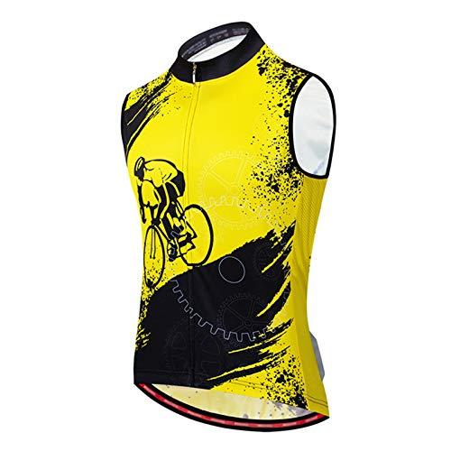 Chaleco de Ciclismo Sin Mangas para Hombre,Maillot Ciclismo Verano Bike Abrigo Bicicleta Camiseta Jersey Chaqueta Shirts,Secado Rápido Ropa Deportiva al Aire Libre Transpira(Size:M,Color:Amarillo)