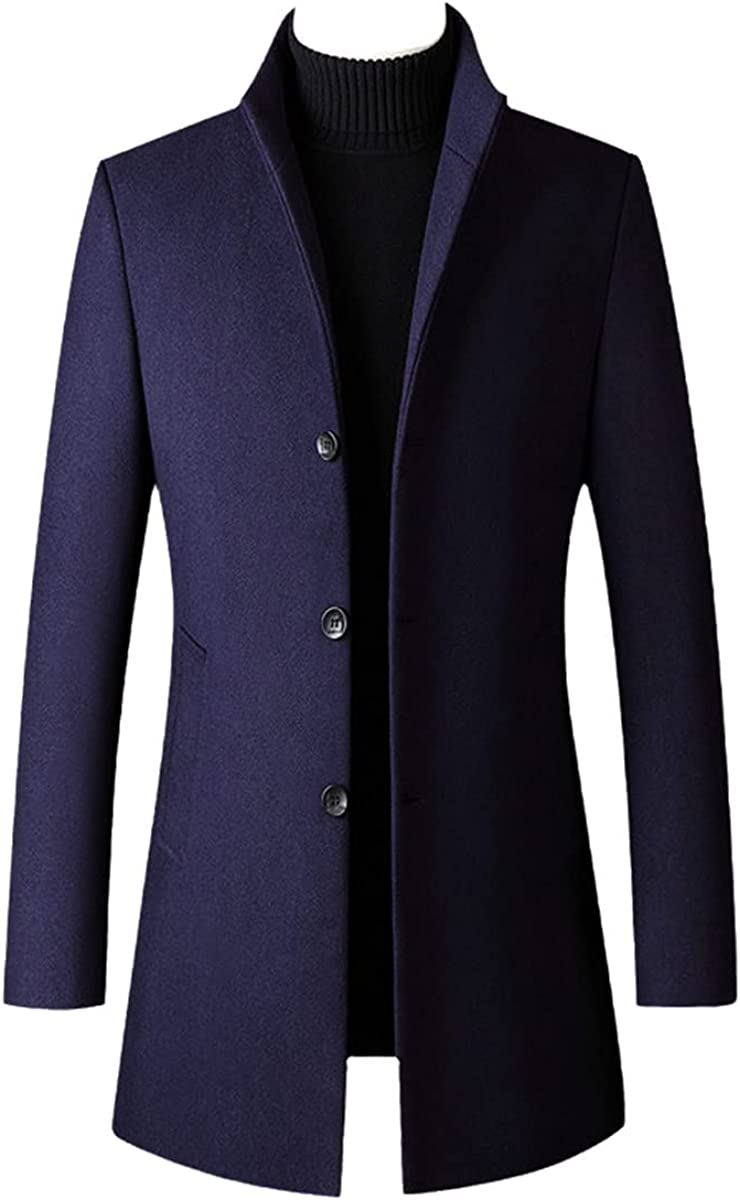 Autumn And Winter Men's Casual Long Wool Blended Windbreaker Solid Color Thick Business Jacket Navy XL