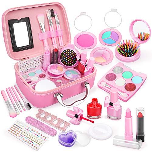 Dreamon Kit de Maquillaje Niñas, Cosméticos Lavables Esmalte de Uñas No Tóxico con Maleta Niña