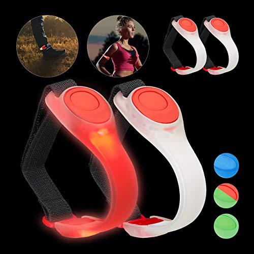 Relaxdays 4 x LED Armband, Jogginglicht blinkend oder durchgehendes Leuchten, Jogging, Laufen, Wandern, Sicherheitslicht, rot