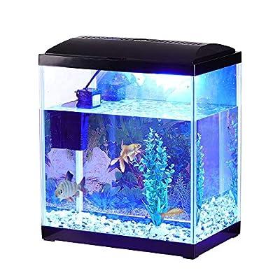 Fish Tank 22L Aquarium Kits, Contains 22 Litre Aquarium, Filter Pump, LED Lighting, Plant Stones Ornament, HD Background and Fish Net